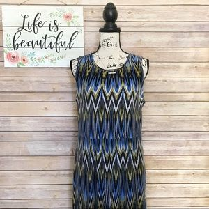J.Jill Blue & Green Print Sleeveless Maxi Dress